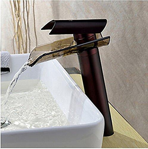 Waterfall Oil Rubbed Bronze Bathroom Vessel Sink Basin Tap Mixer Faucet
