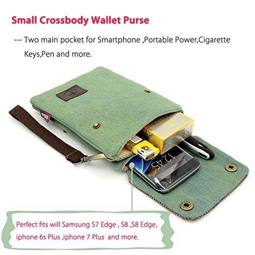 Gcepls Canvas Small Cute Crossbody Cell Phone Purse Wallet Bag with Shoulder Strap for iPhone X iPhone 6 6s 7 Plus,iPhone 8 Plus Samsung Galaxy Note 9 S7 Edge S8 Edge(Fits with OtterBox Case)-Green