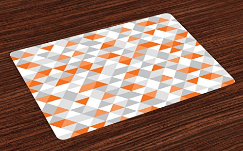 Lunarable Geometric Place Mats Set of 4, Triangles Argyle Polygon Patterns Vibrant Colors Zigzag Ornament, Washable Fabric Placemats for Dining Room Kitchen Table Decoration, Orange Salmon Grey White