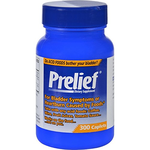 Prelief Dietary Supplement - 300 Capsules - Gluten Free - For Bladder System or Heartburn Caused by Food