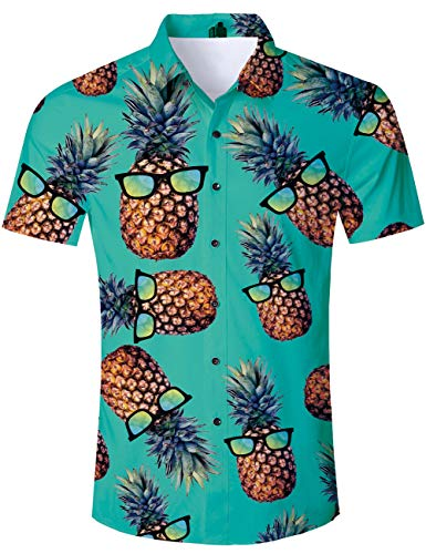 (TUONROAD Men Casual Tropical Vacation Aloha Party Short Sleeve Hawaiian Shirt Turquoise Yellow Pineapple Ananas with Sun Glasses Funny Printed Colorful Beach Button Down Shirt Retro Hawaiian Clothes)