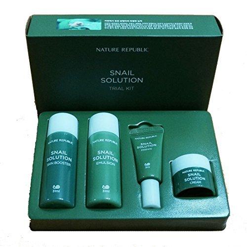 Nature Republic Snail Solution Trial Kit (4 items) Basic Skin Care Travel - Travel Care Kit Skin