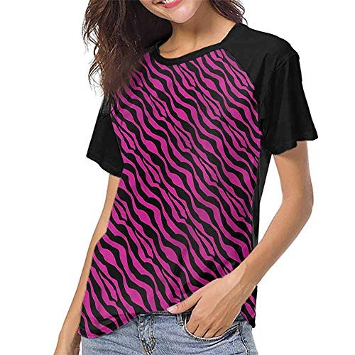 T Shirt,Pink Zebra,Wild Animal Stripes S-XXL Custom Baseball Short ()
