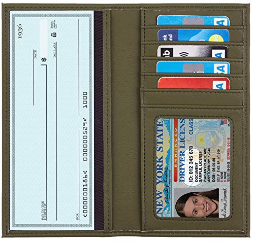 Toughergun Genuine Leather Checkbook Cover For Men & Women Card Holder Wallet RFID Blocking (Access Green Army)