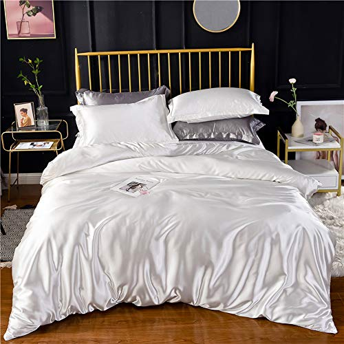 - White Ivory Luxury Silk Bedding Set. Include Silk Duvet Cover, Silk Pillow Sham and Silk Fitted Sheet. Satin Silk, Silk Blend Fabric. No Comforter or Duvet Insert Included. Full/Queen Size.