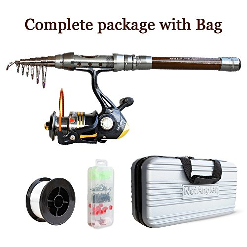 Case Freshwater Reel (NetAngler Spinning Fishing Combo, Telescopic Fishing Rod and Reel Kit with Line Lures Hooks Accessories and Carrier Bag Case for Saltwater Freshwater)