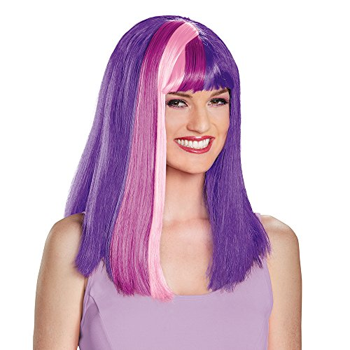Twilight Sparkle Halloween (Disguise Women's Twilight Sparkle Adult Costume Wig, Multi, One)