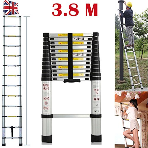 3.8m 12.5 FEET Multi-Purpose Aluminium Telescopic Ladder DIY Extendable 13 Steps For Home Loft Office