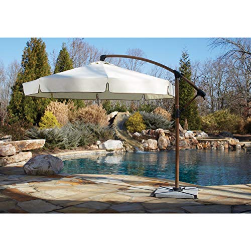 Panama Jack Outdoor Island Breeze Cantilever Umbrella with Stone Bases, 10-Foot Diameter For Sale