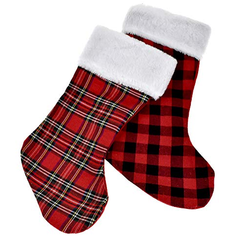 Homeford Plush Cuffed Plaid Buffalo Checkered Christmas Stockings, 17-Inch, 2-Piece by Homeford