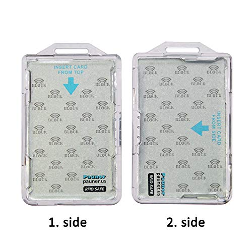 RFID Blocking ID Badge Holder RFID Safe CAC Card Protector id Holder for 2 Cards for twic Card piv Credentials hspd 12 fed id Card lincpass Smart Card (1)