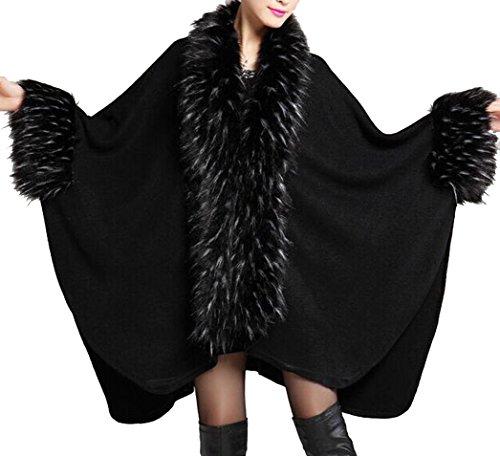 Style Helan Noir Femmes Fourrure Chale Faux Luxe Manteau Cape qBFpBEvwx