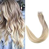 Full Shine 18' 20 Pcs 50 Gram Color #18 Fading to #22 and #60 Blonde Highlighted Balayage Extensions of Tape in Hair Extensions Human Hair