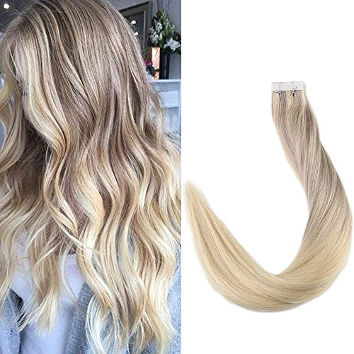 Full Shine 18 20 Pcs 50 Gram Color #18 Fading to #22 and #60 Blonde Highlighted Balayage Extensions of Tape in Hair Extensions Human Hair
