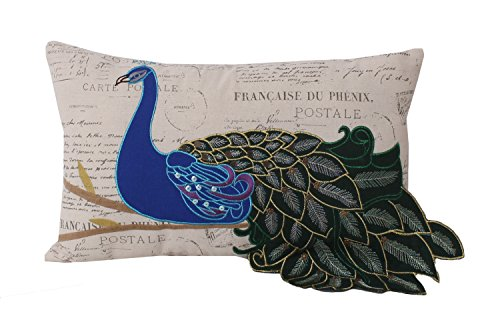 Thro by Marlo Lorenz TH010553001E Postcard Print Peacock Pillow