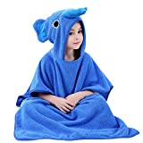 ele ELEOPTION Childrens Hooded Beach Poncho Bath Towel, Light Weight Microfiber Cotton Wetsuit Changing Kids Robe Poncho Towel, Perfect for Girls Boys 1-7 Years old (Elephant Hooded, Blue)