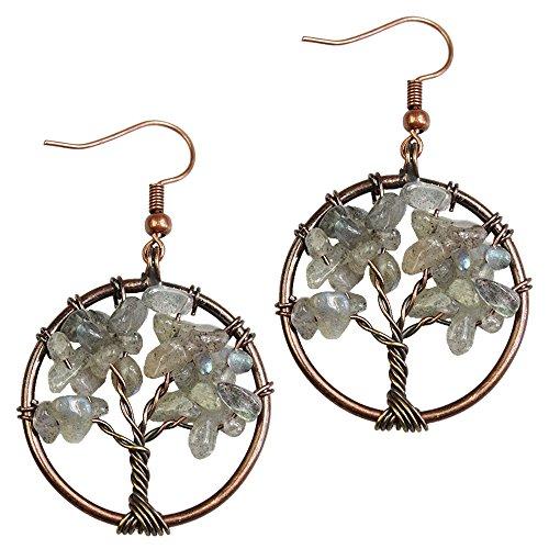 BAYUEBA Dangle Earrings Tree of Life Chakra Jewelry for Women (Labradorite Round)