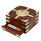 Ashtray Smoke Collectible Tribal Decoration - Square Ashtray with Circular Brass Bowl Wooden Large Decorative Ashtray - 5'' x 5'' x 2.5'' by Affaires W-40125