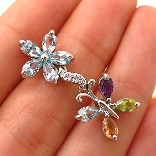 925 Sterling Silver Multi-Color Gem Butterfly & Floral Design Slide Pendant Jewelry Making Supply by Wholesale Charms