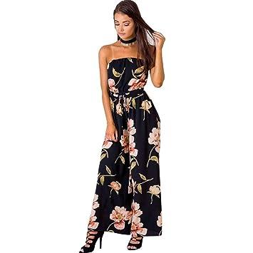 5508da108c4 Seve7 Vestido Pantalones Mono Sin Tirantes De Moda Floral Gran Tamaño Gasa  Pierna Ancha Mono Mujer XL: Amazon.es: Deportes y aire libre