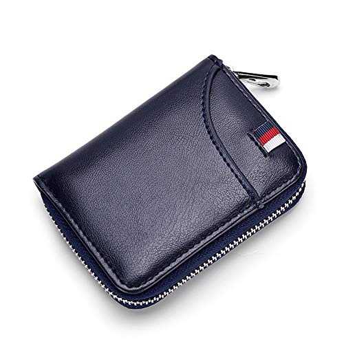 - RFID Blocking Leather Credit Card Holder Wallet for Men Women Business ID Case Zipper Pocket Purse 12 Cards Slots (Navy Blue)
