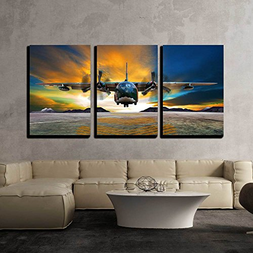 Vintage Picture Framed (wall26 - 3 Piece Canvas Wall Art - Military Plane Landing on Airforce Runways Against Beautiful Dusky Sky - Modern Home Decor Stretched and Framed Ready to Hang - 16