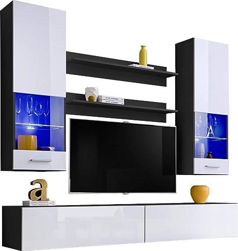 ExtremeFurniture Fly Mueble para TV, Carcasa en Blanco Mate/Frente en Blanco Alto Brillo + LED Azul: Amazon.es: Hogar