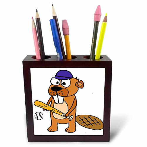 - 3dRose All Smiles Art Sports and Hobbies - Cute Funny Beaver Playing Baseball Or Softball Cartoon - 5 inch Tile Pen Holder (ph_281432_1)