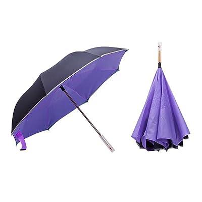 Adealink Inverted Umbrella Travel Reverse Folding Umbrella Cars Warning with Flashlight