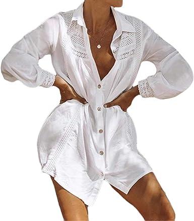 Ai.Moichien Camisa Floral De Mujer Abotonar Blusa De Bikini ...