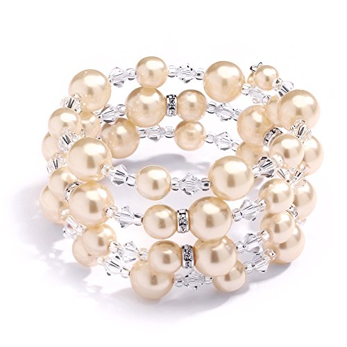 Mariell Champagne Wrap Around Bracelet for Brides - Crystal & Glass Pearl Cuff for Wedding or Fashion