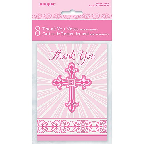 Radiant Cross Pink Religious Thank You Note Cards, 8ct ()