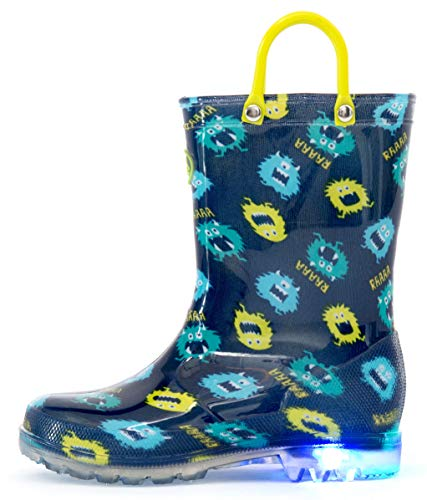 Outee Toddler Rain Boots Boys Kids Light Up Printed Waterproof Shoes Lightweight Cute Blue Monster with Easy-On Handles and Insole (Size 6,Blue) -