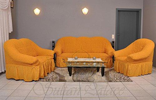 Luxus Sessel- und Sofahussen, Sofa/3-Sitzer, light mustard