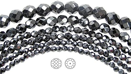 3mm (405 beads) Jet Hematite Fully coated, Czech Fire Polished Round Faceted Glass Beads, 3x16 inch strand