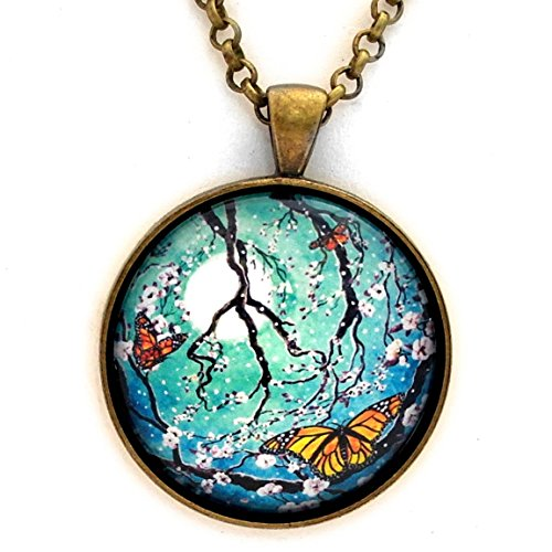 Monarch Butterflies in Teal Moonlight Peace Sign Tree Handmade Art Pendant on 24