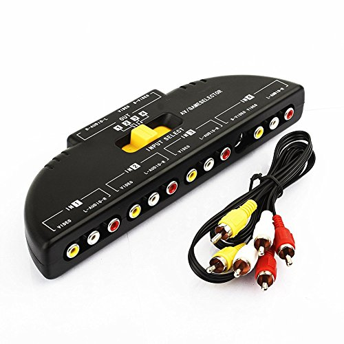 Allnice® 4 Way Audio Video AV Switch Switcher 4 Input 1 Output Selector Splitter Box with RCA Cable - Av 4 Input Audio Video