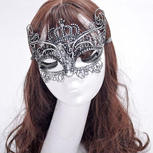 Elegant Masks For Masquerade Ball (Misaky Elegant Crown Lace Cut Venetian Halloween Ball Masquerade Luxury Mask (Silver))