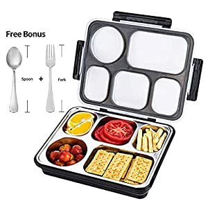FIRST-MALL Leak-Proof Bento Style Lunch Box - Stainless Steel Versatile 4 Compartment Food Containers - On-The-Go Meal and Snack - BPA-Free and Food-Safe Materials, Ideal for Adults &Teenagers (BLACK)