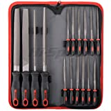 Hi-Spec All-In-One 16pc Carbon-Steel File Set with 200mm Flat, Half-round, Round, Triangle Files & 8 x Needle Files for Wood, Metal, Leather, Fixing Chipped Glass & Ceramics