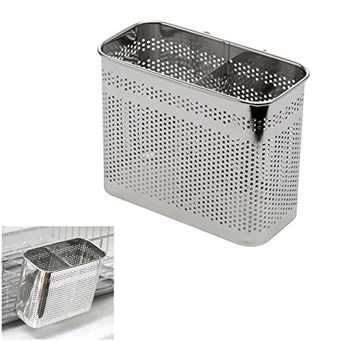 Kitchen Utensils Drying Rack 2 Compartments Stainless Steel Square Spoon Knife Fork Case Organizer Storage Stand Holder Silver (Jonathans Wood Spoons)