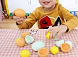 Abetteric Wood Eggs with Yolk Inside for Children Playtime,2 Colors,6-Pack