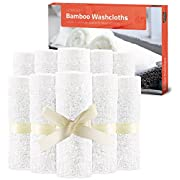 Utopia Towels Bamboo Baby Washcloths (10 - Pack) Premium Quality Extra Soft & Highly Absorbent Towels For Sensitive Baby Skin - 10  X 10  - Washable Infant Wipes Excellent for Baby Shower - Great Gift