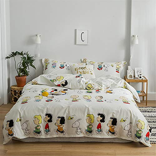 Papa&Mima Snoopy Children Cartoon Style Cotton Duvet Cover Set Fitted Sheet Pillowcases Bedding Set Full Size 70