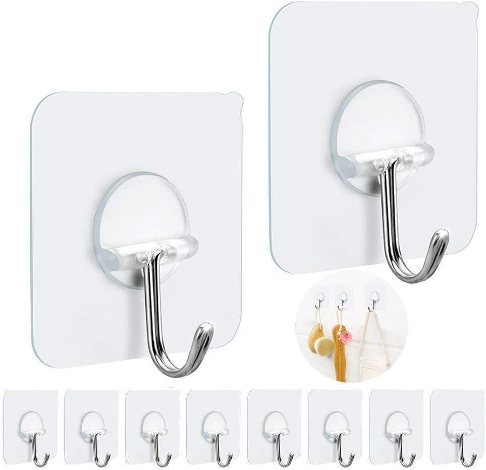 10pcs Wall Hangers Self Adhesive Hook Seamless Hangers Hat Racks Kitchen Room