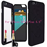 iPhone 6s Plus Case,iPhone 6 Plus Case, NCIE Hidden Back Mirror Wallet Case with Stand Feature and Card Holder for Apple iPhone 6 Plus, 6S Plus 5.5' (Black)