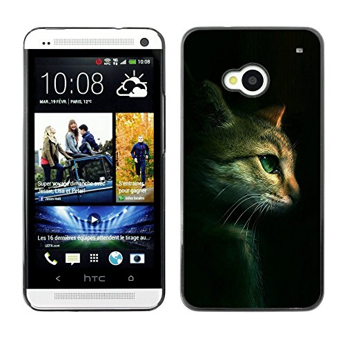 Plastic Shell Protective Case Cover || HTC One M7 || Cat Feline Portrait Profile Green Eyes @XPTECH