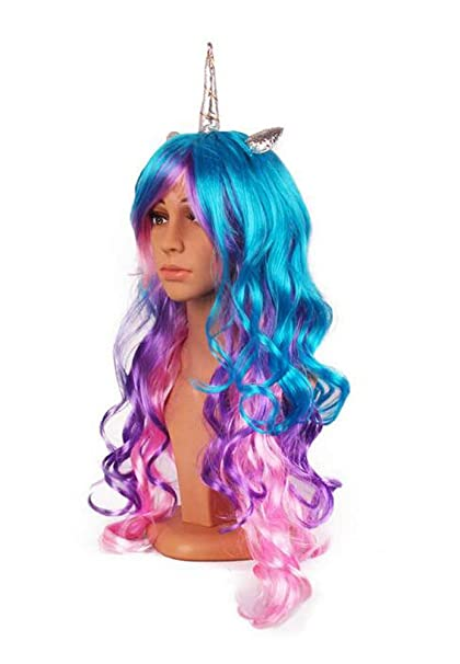 1e875d7b4d4f Amazon.com: YallFairy Womens Girls Assortment of Unicorn Wigs and  Headpieces (Color A): Clothing