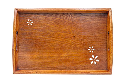 Japanese Style Classic Wooden Cherry Pattern Tea Tray, Rectangle by Islandoffer