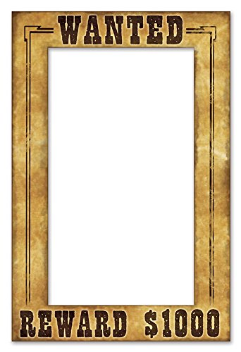 Western Party Decorations (Beistle 52158 Western Wanted Photo Fun Frame, 15.5